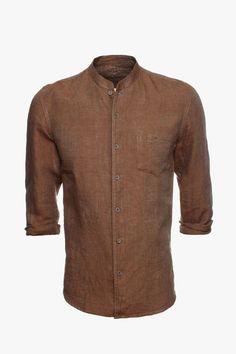 Camisa mao lino lisa - cuello mao | Adolfo Dominguez shop online