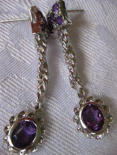 33.35 CT. (GEMS+SETTING) Natural Amethyst WGP over Sterling 925 Silver Earrings  #Handmade #DropDangle
