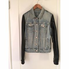 Talula Jean Jacket with Faux leather sleeves Small stains on next and front right of jacket very minor otherwise in good condition Aritzia Jackets & Coats Jean Jackets