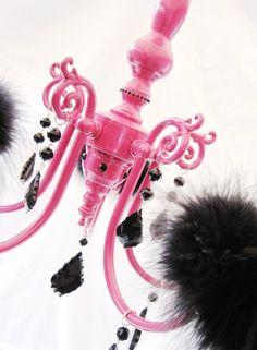 Flirty Hot Pink and Black Boa Chandelier MADE TO ORDER. $245.00, via Etsy.