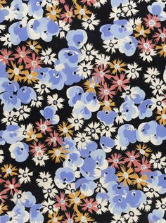 Textile design of floral motifs | Elza Sunderland (Hungary, active United States, 1903-1991) | Gouache on paper | USA, circa 1944 | Los Angeles County Museum of Art, LACMA
