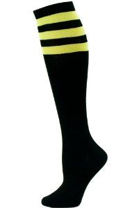 Julietta Women's Sport Stripe Black Knee Socks by Julietta. $3.95. Great for your next team sport event or to wear with that cute skirt, our Julietta Women's Sport Stripe Black Knee Socks are a fun way to keep your legs warm! These knee high socks are black with 3 sporty top stripes in the color of your choice. Each pack contains one pair of women's knee socks.. Save 13% Off!