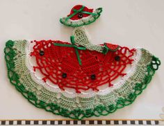 Watermelon seed buttons | Watermelon Theme Crinoline Girl Crochet Doily by designedbyl