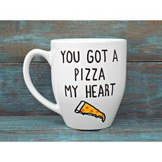 Funny Mug Pizza Mug You Got a Pizza My Heart Mug Valentines Day Mug... ($17) ❤ liked on Polyvore featuring home, kitchen & dining, drinkware, drink & barware, grey, home & living, mugs, valentines day coffee mugs, heart mug and heart shaped coffee mug