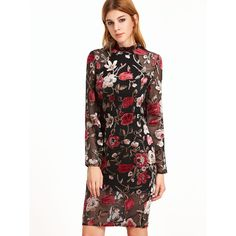 SheIn(sheinside) Multicolor Flower Print Organza Overlay Sheath Dress (£19) ❤ liked on Polyvore featuring dresses, multicolor, white long sleeve dress, long sleeve floral dress, sexy white dresses, long-sleeve maxi dresses and long-sleeve floral dresses