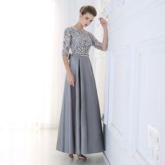 Robe De Soiree 2016 Neue Luxus Spitze Satin Halb Sleeved Lange Abendkleid…
