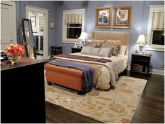 The bedroom from the Braverman household from the TV show, Parenthood.  Love the blue color, it's called Van Courtland Blue, a color in the Benjamin Moore Historical Collection.