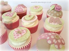 Quilted patchwork cupcakes. Mothers day cupcake in dusky pink green and brown.