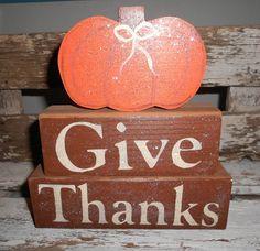 Give Thanks Wood Glitter Blocks Shelf by mycountrycottagesign
