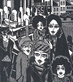 The Immigrants - HENRI VAN STRATEN - woodcut