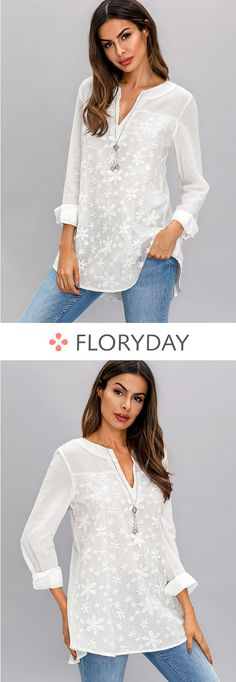 Solid V-neckline short sleeve blouses, casual blouse, style, lovely. Blouse Styles, Blouse Designs, Shirt Blouses, Shirts, Party Dresses Online, Sequin Party Dress, Stitch Fix Outfits, Online Dress Shopping, Indian Outfits