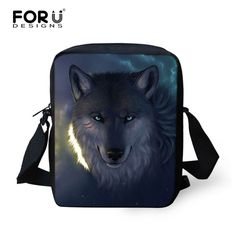 FORUDESIGNS Men Messenger Bags Cool Animals Wolf Shoulder Bag 3D Pet Husky Dog Printed Crossbody Bag Men's Travel Bag Handbag
