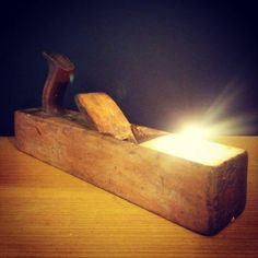 Rustic Vintage Lamp with Wooden Plane Tealight Holder Table Lamps Wood Lamps