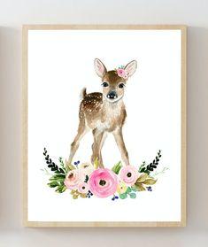Blume Krone Baby Waldtieren SET von 6 Drucke Wald Tiere
