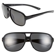 Zeal Optics 'Darby' 60mm Polarized Plant Based Aviator Sunglasses (230 BGN) ❤ liked on Polyvore featuring accessories, eyewear, sunglasses, darby black gloss, uv protection glasses, polarized lens sunglasses, uv protection sunglasses, polarized aviator sunglasses i aviator sunglasses