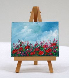 Field Of Poppies, 3x4, original oil painting, sky, flowers, art, small painting by valdasfineart on Etsy