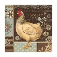 Aqua Rooster II Canvas Art - Kimberly Poloson x Chicken Painting, Chicken Art, Chicken Signs, Chicken Crafts, Rooster Art, Rooster Decor, Arte Do Galo, Chicken Illustration, Chickens And Roosters