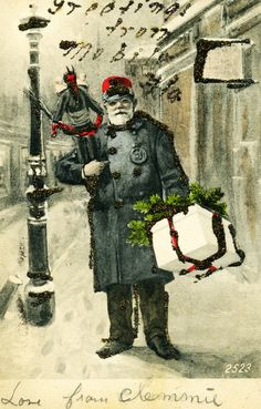 Jaffe Center for Book Arts: Merry Christmas & Beware the Krampus! Merry Christmas, Dark Christmas, Funny Christmas Cards, Vintage Christmas, Father Christmas, Christmas Images, Christmas Stuff, Christmas Crafts, Xmas