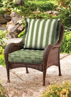 Deep Seating replacement cushions in the BHG Tulip Medallion pattern with stripes are so inviting