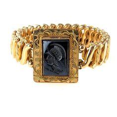 Victorian Revival Intaglio Stretch Bracelet - Gold, Black / Gold Filled / Adjustable  #jewelry
