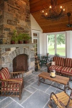 twig lights, hickory furniture, stone fireplace... sigh