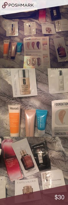 Sephora Sample Pack (Murad, Shiseido, Armani, etc) All NWT. I have sensitive skin, and like my current skincare regime, so I am too weary to try anything new. Great samples for those who love trying new products! •Murad Essential C Moisturizer  •Clinique Pep- Start & Even Better SPF 15 foundation (05 N) •Becca Backlight Priming Filter •Sheseido Ultimune •Hourglass Veil Mineral Primer •Bobbi Brown Cleansing Milk •Armani Prima •Smashbox Studio Skin •Estēe Lauder Adv. Night Repair…