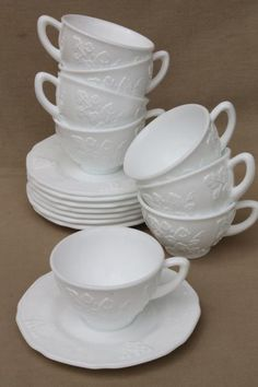 vintage milk glass cups & saucers set for 8, Colony Indiana harvest grapes