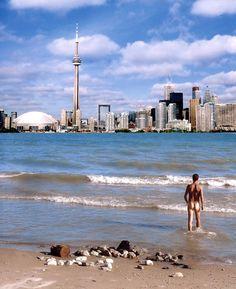 Hanlans-Point-Beach, in Toronto, Canada. Toronto Skyline, Best Kept Secret, Nude Beach, Beach Day, Cn Tower, Wigs, World, Building, Places