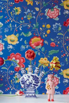 dark blue floral fancy wallpaper by pip studio by fifty one percent | notonthehighstreet.com