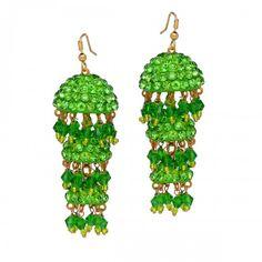 Weeding Wear Shiny stone studded Handmade Green color Disco Lack #JhumkiEarring for Girls @eindiawholesale