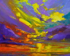 Beach scene painting - coloful sunset, oil painting, modern impressionist art by patricia awapara