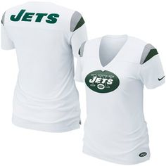 Nike New York Jets Ladies Fashion Football Premium T-Shirt - White