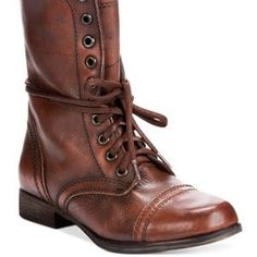 Steve Madden Troopa Combat Boots in Brown Leather