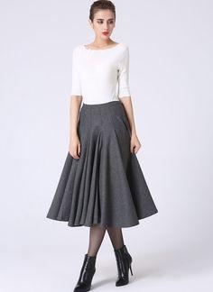 Full pleated wool skirt. #fall #winter