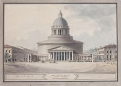 Title: Kazan Cathedral in St Petersburg. Northern Facade Date: 1800 Technique: drawing-pen, pen and brush, Indian ink and watercolour on laid paper Dimensions: cm Monumental Architecture, Concept Architecture, Big Building, Hermitage Museum, Baroque, Renaissance, Facade, Taj Mahal, Cathedral