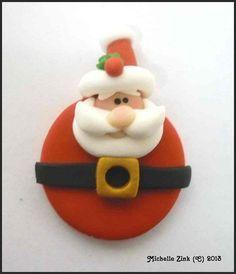 Polymer Clay Pendant Charm Bead Round Santa