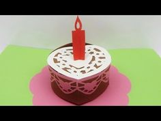 How to make a pop up card 3D happy birthday cake greeting card DIY (tutorial + free pattern) - YouTube
