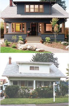 Before and After 1909 craftsman bungalow, Portland, OR. I actually prefer the Before. Craftsman Exterior, Craftsman Style Homes, Craftsman Bungalows, Cottage Exterior, Craftsman Remodel, Craftsman Porch, Cafe Exterior, Colonial Exterior, French Exterior