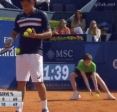 gifaknet:  video: Ball Boy Laughs Off Embarrassing Faceplant at Tennis Tournament