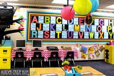 Bright rainbow kindergarten classroom love the large let Kindergarten Classroom Decor, Diy Classroom Decorations, Classroom Walls, Classroom Design, Teaching Kindergarten, Future Classroom, Classroom Themes, Classroom Organization, Classroom Management