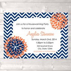 Navy and coral invitation modern house warming by designandplay, $15.00