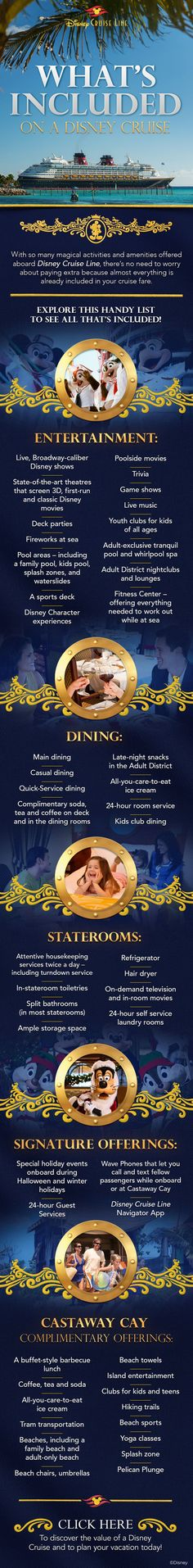 Everything that's included on your Disney Cruise!   www.swawtraveldenise.com