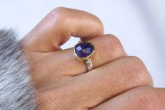 Silver and Gold Amethyst Ring, Rose Cut Ring, 925 Sterling, 18k Gold, February Birthstone Gift, Purple Gemstone Women Jewelry, Fashion Ring Golden Ring, Gold And Silver Rings, Fashion Rings, Band Rings, 18k Gold, February, Amethyst, Gemstone Rings, Women Jewelry