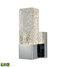 Elk Cubic Ice 1 Light Sconce In Polished Chrome With Solid Textured Glass Wall Sconce item number 85105/LED