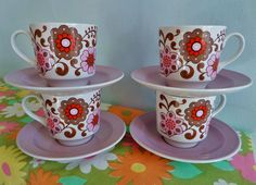 Vintage Retro 60s 70s Red Pink Floral Barratts Staffordshire Cups and Saucers