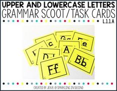 "This is a ""scoot"" or ""roam the room"" activity that can also be used in a center. The students will copy the letter correctly in upper and lower case letters. There are 26 task cards. SAVE 30% when you buy my FIRST GRADE GRAMMAR"