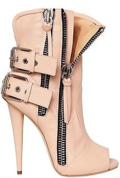 LOVE the boots HATE the peep- toe! Giuseppe Zanotti leather biker open toe boots from winter collection. Dream Shoes, Crazy Shoes, Me Too Shoes, Crazy High Heels, Bootie Boots, Shoe Boots, Shoes Heels, Ankle Boots, Biker Boots