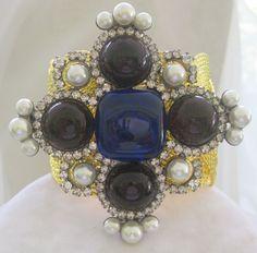 VRBA Purple & Blue Glass Stones & Rhinestones Cuff Bracelet from vintagejewelrytoo on Ruby Lane