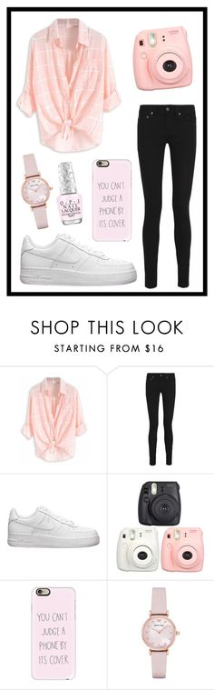 """""""#395 pink & cute"""" by xjet1998x ❤ liked on Polyvore featuring Yves Saint Laurent, NIKE, Casetify and Emporio Armani"""