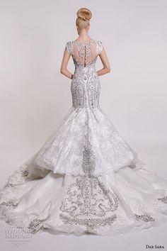 dar sara bridal 2016 wedding dresses gorgeous mermaid gown fit flare trumpet cap sleeves v neckline beaded embellishment back view